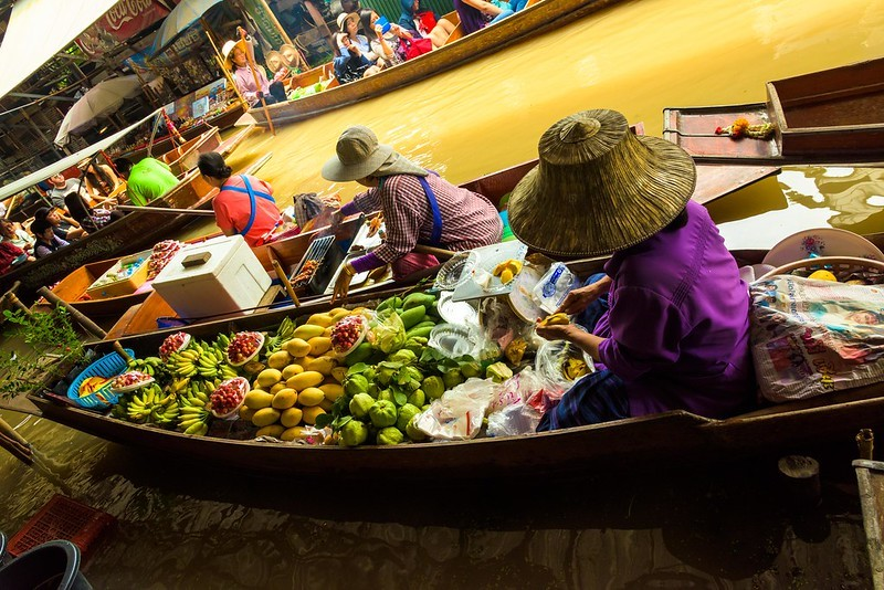 Damnoen Saduak Floating Market and River Kwai Bridge
