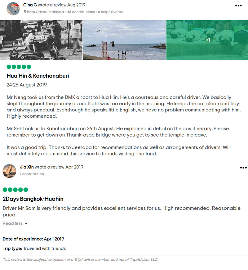Hua Hin Day Trip Private tour's customer review