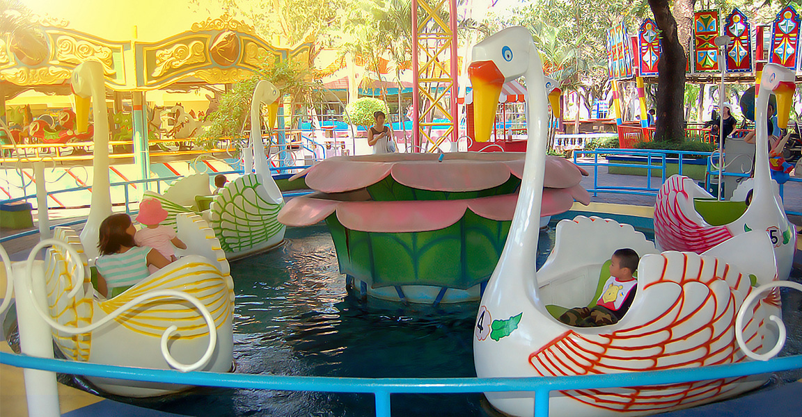 Siam Park City Bangkok Thailand Swan Ride in Small World