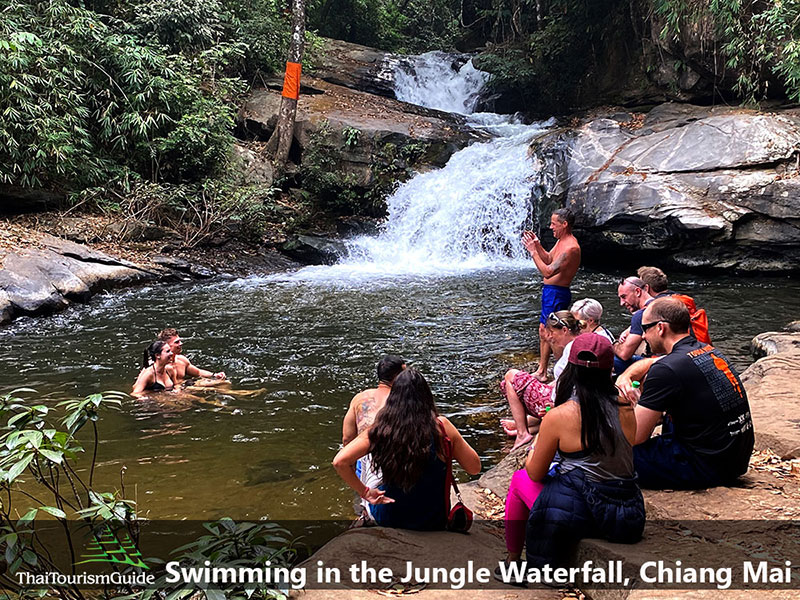 Swimming in the jungle at Pha Dow Seaw Waterfall